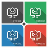 New message flat vector icon on colorful background. simple PC web icons eps8. Royalty Free Stock Image