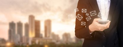 New messages on mobile phone, hands of business opening inbox to. View the pending e-mail communication, copy space royalty free stock photography