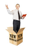New messiah leaps out from the cardboard box and preaches. Isolated over white Royalty Free Stock Image