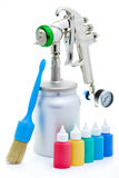 New metal brilliant Spray gun And brush Royalty Free Stock Photos