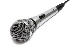 New and metal microphone. On a white background stock photos