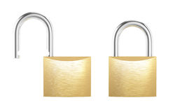 New metal opened and locked padlock isolated on white background Royalty Free Stock Image