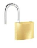 New metal opened padlock isolated on white background Stock Photo