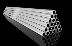 New Metal pipes. New shiny metal pipe stock Royalty Free Stock Image