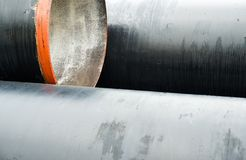 New metal pipes stack. Close up Royalty Free Stock Image