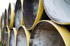 New metal pipes stack Royalty Free Stock Images