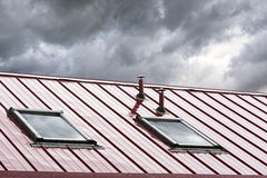 New metal roof with skylights Royalty Free Stock Images