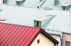 New metal roofs of old houses Stock Photo