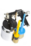 New metal Spray gun And brush Stock Photography