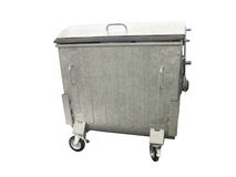 New metallic garbage container isolated over white Stock Images