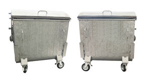 New metallic garbage containers isolated over white Royalty Free Stock Image