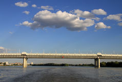 New Metro bridge (of the 60th anniversary of the Victory) over the Irtysh River in Omsk, Russia Stock Photo