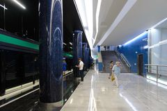 New metro-station Novokrestovskaya in Saint-Petersburg, Russia. stock photos