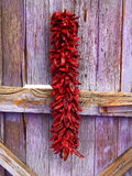 New Mexican Chile Ristra and Old Wood. Red dried chiles (or chilis) strung and hung as a traditional New Mexican outside decoration on the exterior of a Royalty Free Stock Photos