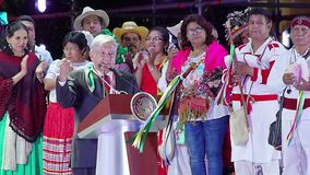 New Mexican President does a speech to the people. Mexico City 01/12/2018. Andres Manuel Lopez Obrador speaks to the people during his presentation as Mexican stock video