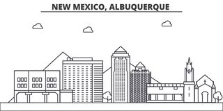 New Mexico, Albuquerque architecture line skyline illustration. Linear vector cityscape with famous landmarks, city Royalty Free Stock Images