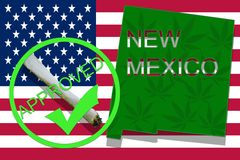 New Mexico  on cannabis background. Drug policy. Legalization of marijuana on USA flag, Royalty Free Stock Photography