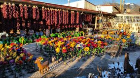New Mexico Colorful Market Place near Taos NM. In the northen region of New Mexico. Sangre De Cristo Mountain range area Stock Image