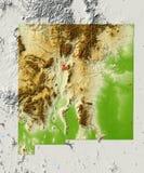 New Mexico, in de schaduw gestelde hulpkaart Stock Foto's