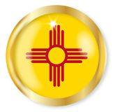 New Mexico Flag Button. New Mexico state flag button with a gold metal circular border over a white background Royalty Free Stock Photos