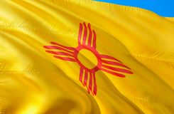 New Mexico flag. 3D Waving USA state flag design. The national US symbol of New Mexico state, 3D rendering. National colors and stock photos