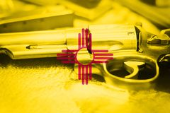 New Mexico flag U.S. state Gun Control USA. United States Gun. Laws Stock Photo