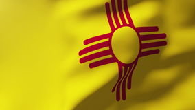 New mexico flag waving in the wind. Looping sun stock footage
