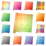 New Mexico geometric polygonal, mosaic style us. New Mexico geometric polygonal, mosaic style us state maps collection. Bright abstract tessellation, low poly Stock Photo