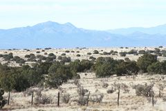 New Mexico High Desert with Mountain Range Royalty Free Stock Images