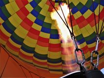 New Mexico hot Air balloon launch fill flame fire festival. New Mexico hot Air balloon launch fill flame fire preflight New Mexico festival stock image