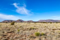 A New Mexico Landscape. A remote New Mexico landscape, with a blue sky overhead royalty free stock photo