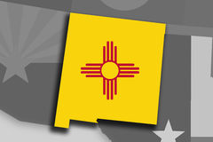 New Mexico map and flag Royalty Free Stock Photo