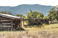 New Mexico Mountain and an old worn out shack. You can see where the green trees have bended with the wind, in what otherwise seems to be nothing but still and Stock Photo