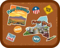New Mexico, New York travel stickers with scenic attractions. And retro text on vintage suitcase background Royalty Free Stock Photo