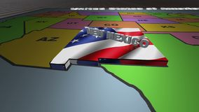 New Mexico pull out from USA states abbreviations map. State New Mexico pull out from USA map with american flag on background. A map of the US showing the two stock footage