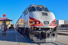 New Mexico Rail Runner Train Locomotive stock image