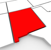 New Mexico Red Abstract 3D State Map United States America. A red abstract state map of New Mexico, a 3D render symbolizing targeting the state to find its Stock Photo