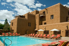 New Mexico resort hotel. A view of the swimming pool and exterior of a resort hotel in Santa Fe, New Mexico stock photography