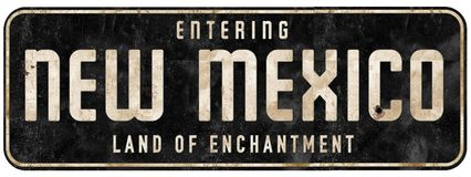 New Mexico Road Sign Entering Land of Enchantment stock image