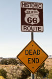 New Mexico Route 66 Sign. Historic Route 66 sign in New Mexico with a dead end sign right below it royalty free stock images
