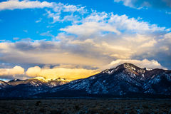 New Mexico Sangre De Cristo Taos Mountains with Snow Sunset.  Royalty Free Stock Images