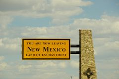 The New Mexico sign at the state line to Texas Royalty Free Stock Photo