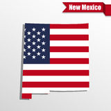 New Mexico State map with US flag inside and ribbon Royalty Free Stock Images