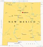 New Mexico, United States, political map royalty free stock image