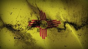 New Mexico US State grunge dirty flag waving on wind. United States of America New Mexico background fullscreen grease flag blowing on wind. Realistic filth Stock Photo
