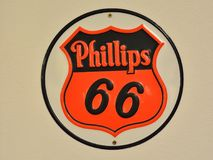 Phillips 66 gas station sign and logo. Stock Photos