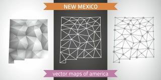 New Mexiko stellte vom Grau und von den polygonalen Karten des Silbermosaiks 3d ein Grafische Vektordreieckgeometrieentwurfs-Scha Stockfotos