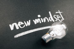 New Mindset. Handwriting of New Mindset topic with light bulb stock images