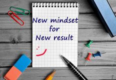 New Mindset for New Result text. On notebook royalty free stock photos