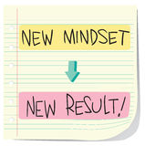 New Mindset New Result. Vector illustration of Self Development Concept, New Mindset to New Result written on striped paper Stock Image